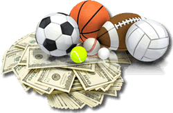 sports balls on top of pile of money