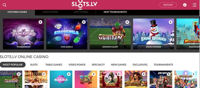Screenshot of Slots.lv website