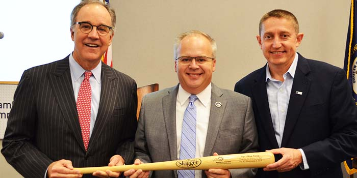 Kentucky Rep. Adam Koenig holds bat