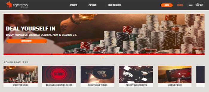 Ignition Casino homepage
