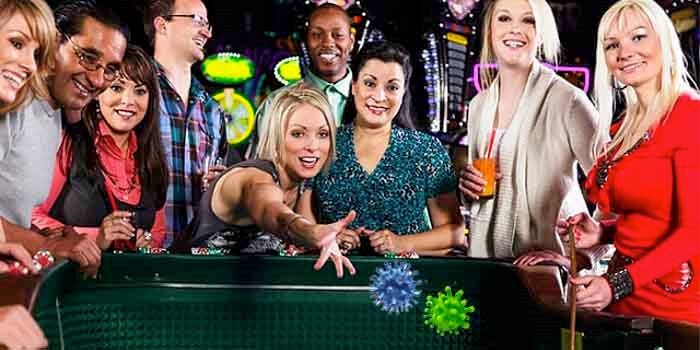 a women throwing coronavirus dice at a craps table