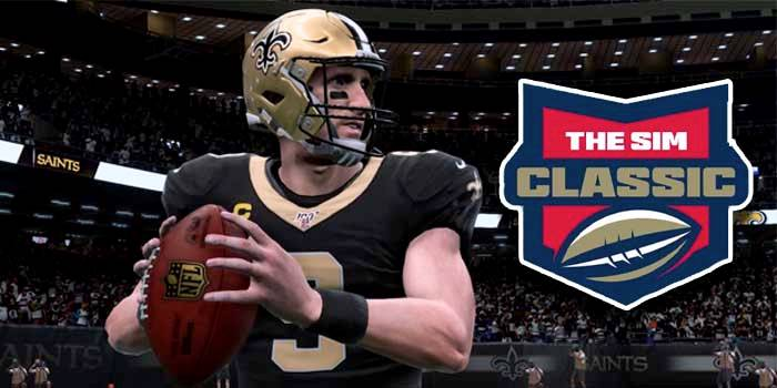 Virtual Drew Brees holding a football with Bovada's The Sim Classic logo to the right