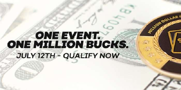 cash with the text one event, one million bucks, July 12th, qualify now, written on top