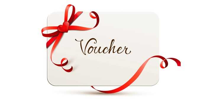voucher card with red ribbon