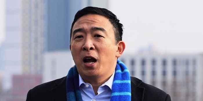 andrew yang speaking outside in new york during his 2021 nyc mayoral campaign