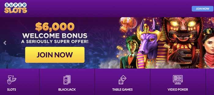 Super Slots homepage